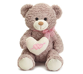 "17"" GRAY VALENTINE BEAR WITH HEART"