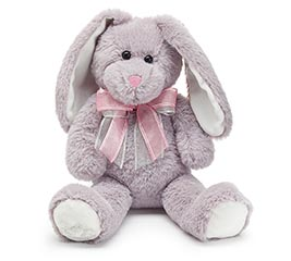 SOFT GRAY BUNNY WITH PINK AND GRAY BOW