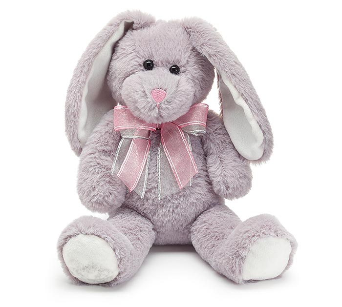 "14"" SOFT GRAY BUNNY PLUSH WITH BOW"