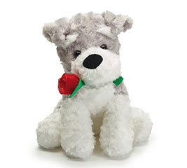 "10"" VALENTINE PUPPY WITH RED ROSE"