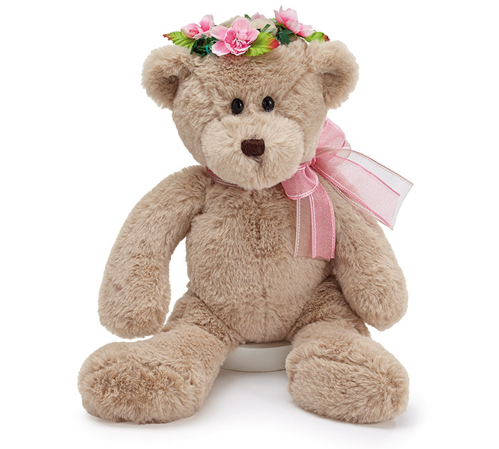 "14"" BEIGE BEAR WITH PINK FLOWER CROWN"