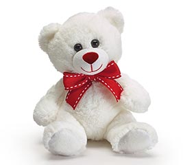 "7"" WHITE VALENTINE BEAR WITH RED BOW"
