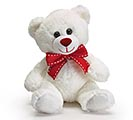 "7"" WHITE BEAR WITH RED GROSGRAIN RIBBON"