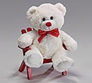 "10"" WHITE VALENTINE BEAR WITH RED BOW"
