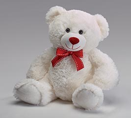 "12"" WHITE VALENTINE BEAR WITH RED BOW"