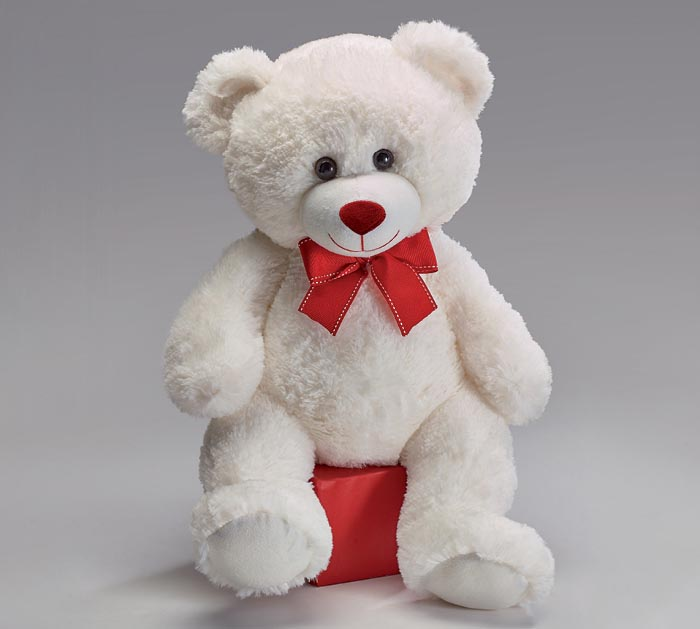 """15"""" WHITE VALENTINE BEAR WITH RED BOW"""