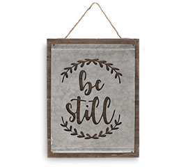 BE STILL WOOD AND TIN CUTOUT WALL HANGER