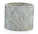 RECESSED GINGKO LEAF ON GRAY PLANTER