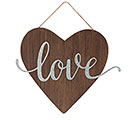 WOOD HEART WALL HANGING WITH LOVE IN TIN