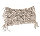"19"" RECTANGLE PILLOW WITH MACRAME"
