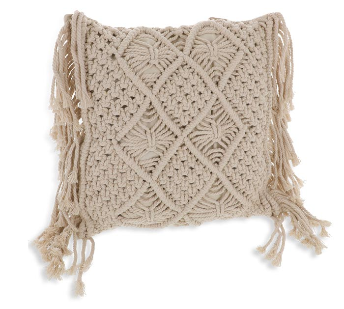 "12"" SQUARE PILLOW WITH MACRAME"