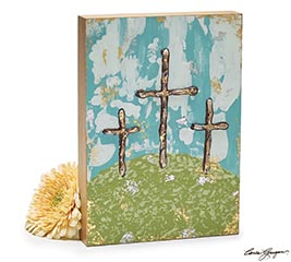 THREE CROSSES ON A HILL SHELF SITTER