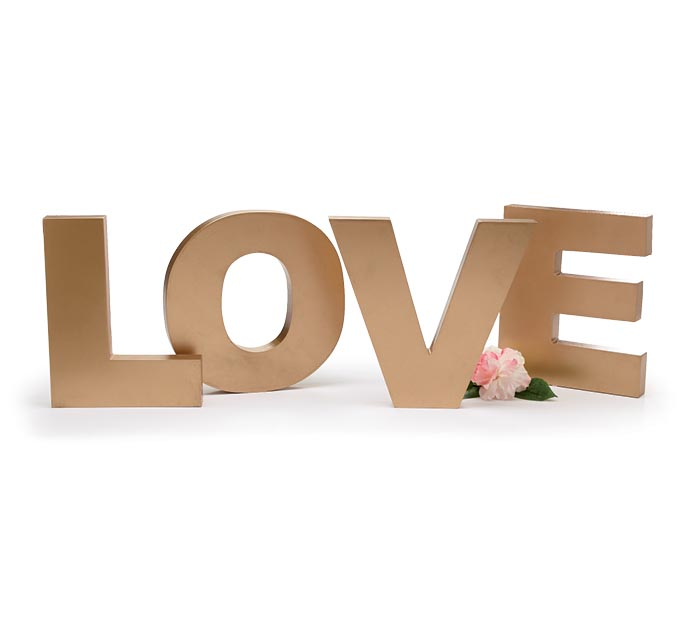 GOLD WOODEN LOVE DECOR LETTERS