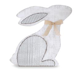 DISTRESSED WHITE BUNNY WITH TIN