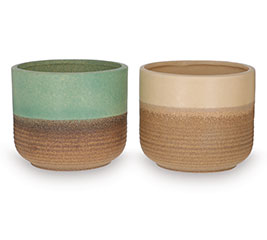 TWO TONE RIBBED PLANTER