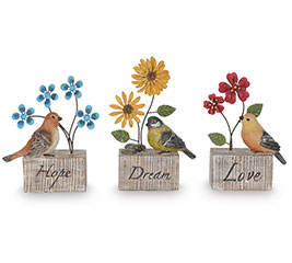 FIGURINE BIRDS WITH METAL FLOWER