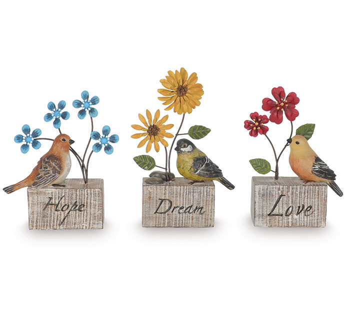 FIGURINE BIRDS WITH METAL FLOWER