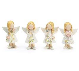 RESIN MED FLORAL ANGEL ASTD FIGURINES