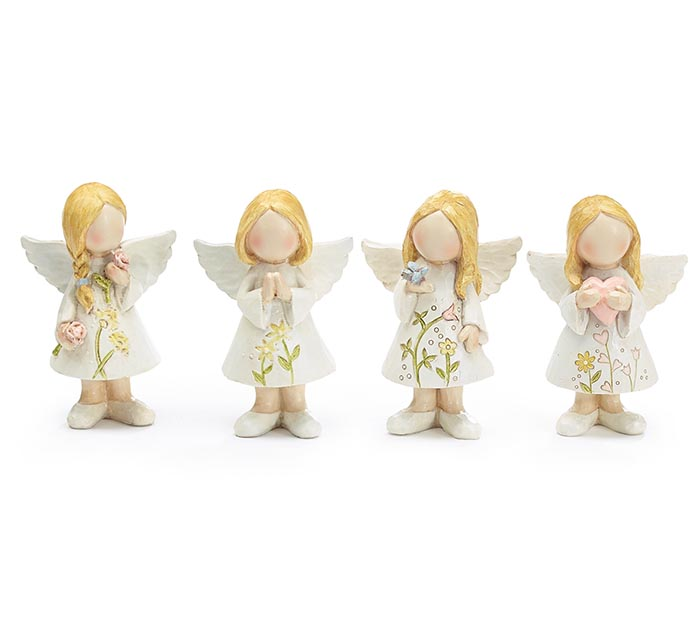 RESIN MED FLORAL ANGEL ASTD FIGURINES