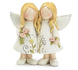 FIGURINE MED TWIN ANGELS FLORAL