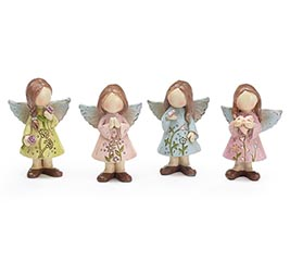 RESIN SMALL FLORAL ANGEL ASTD