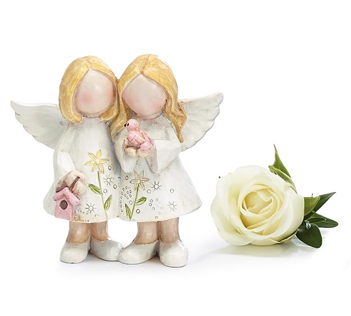 FIGURINE SMALL TWIN ANGELS FLORAL