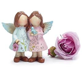 FIGURINE SM TWIN ANGELS FLORAL