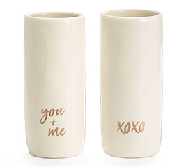 XOXO, YOU  ME IN GOLD ON WHITE VASE