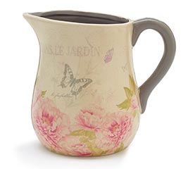 FRENCH FLORAL CRAQUELE FINISH PITCHER