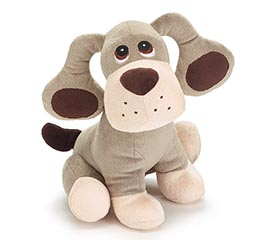 "PLUSH 11"" GRAY PUPPY WITH LARGE EARS"