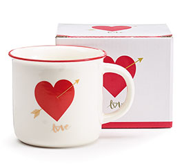 VALENTINE MUG HEART WITH RED RIM