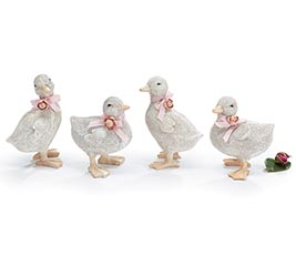 WHITE ASSORTED POSED DUCK FIGURINES