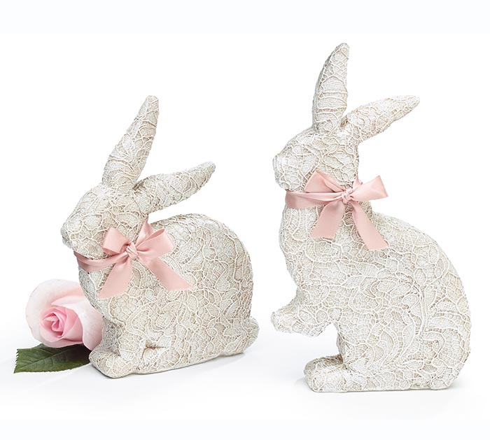 WHITE LACE LIKE BUNNY SHAPE FIGURINE