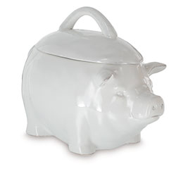 SOLID WHITE CERAMIC PIG SHAPE COOKIE JAR