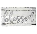 "WHITE WOOD  TIN WALL HANGING ""BLESSED"""