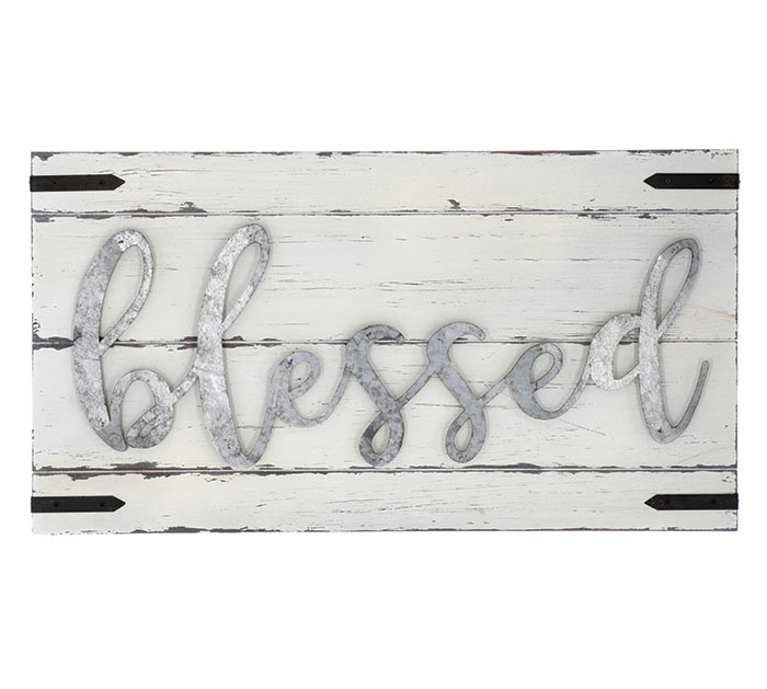 """WHITE WOOD  TIN WALL HANGING """"BLESSED"""""""