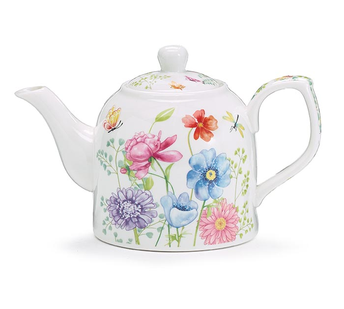 TEAPOT MIXED BLOOMS WITH GREENERY