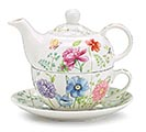 TEAPOT STACKED MIXED BLOOMS AND GREENERY
