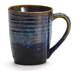BLUE MARBLIZED SLIGHTLY RIBBED MUG
