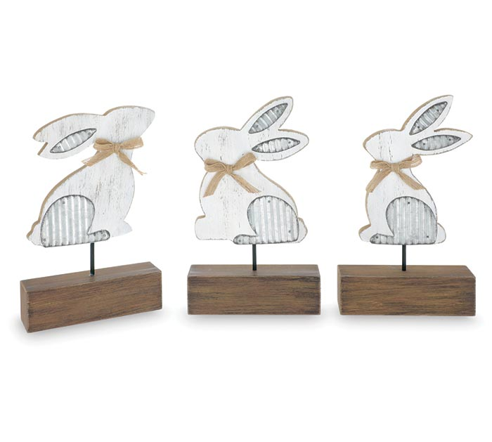 WHITE DISTRESSED BUNNY SHELF SITTERS