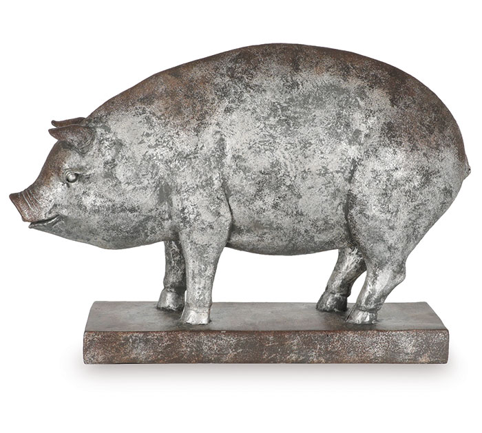 DISTRESSED SILVER RESIN PIG DECOR