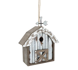 RUSTIC BARN BIRDHOUSE WITH TIN ACCENTS