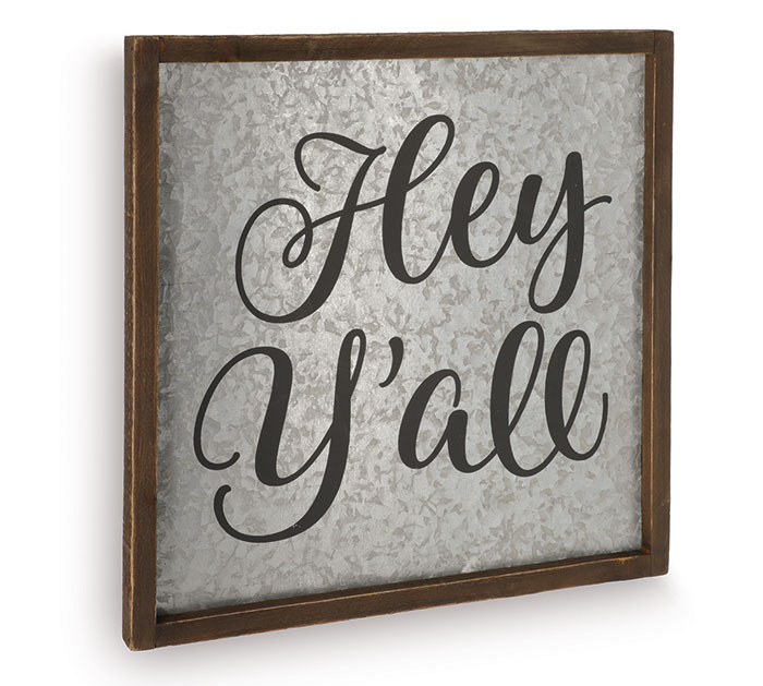 HEY Y'ALL GALVANIZED TIN WALL HANGING