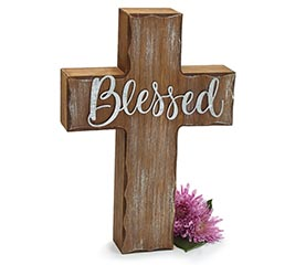 BLESSED DISTRESSED WOOD CROSS