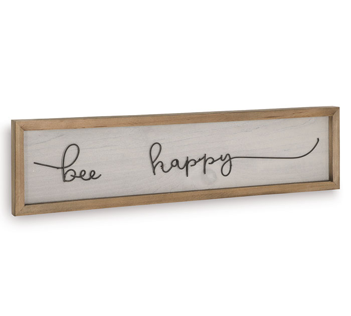 BEE HAPPY LASERCUT MESSAGE WOODEN SIGN