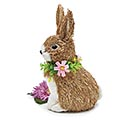 "8"" BROWN BUNNY WITH FLOWER NECKLACE"
