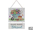 WHEELBARROW GARDEN SCENE WALL HANGING