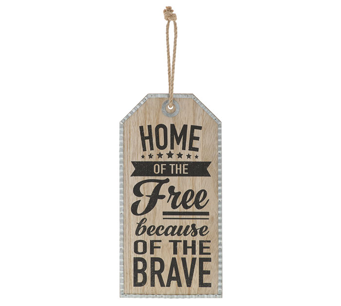 HOME OF THE FREE TAG WALL HANGING