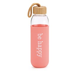 "GLASS WATER BOTTLE ""BE HAPPY"""