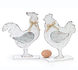 DISTRESSED WHITE ROOSTER  HEN FIGURINES